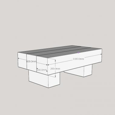 3 Beam Top Coffee Table