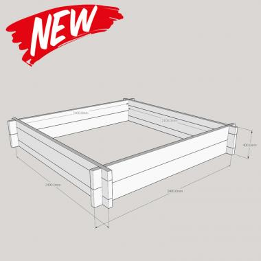 Slot Together Oak Raised Bed Kit - Square 2.4m