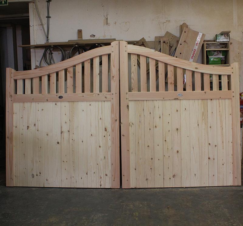 English Larch - Douglas Fir Swan Neck Driveway Gates | Buy Fencing