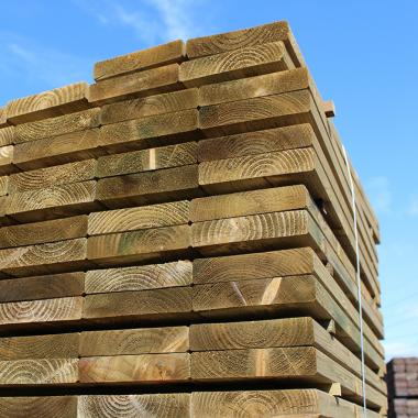 Planed and Bevelled Treated Softwood Sleepers 200mm x 50mm
