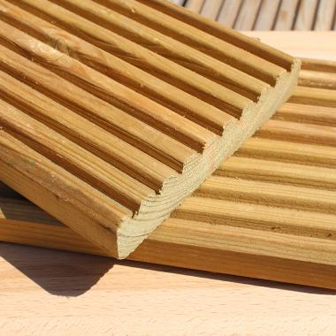 Green Treated Nordic Redwood Pine Decking Sample