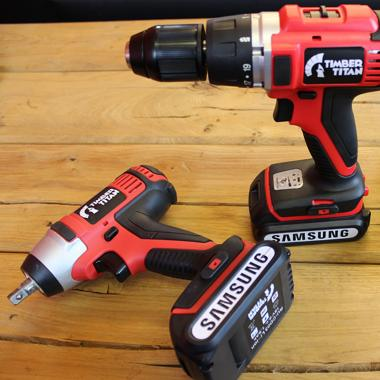 Timber Titan 2 in 1 Cordless Drill & Impact Driver Set